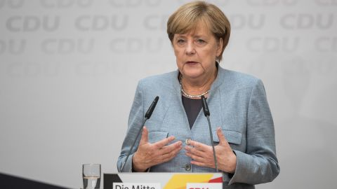 German Chancellor  Angela Merkel speaks to the media the day after the CDU won 32.9% of the vote and a first place finish in yesterday's German federal elections on September 25, 2017 in Berlin, Germany.