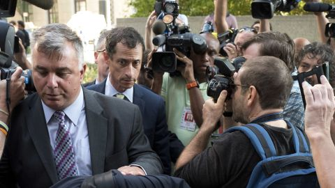 Former Congressman Anthony Weiner (D-N.Y.) arrives at federal court for his sentencing hearing in a sexting scandal, Monday, Sept. 25, 2017, in New York.