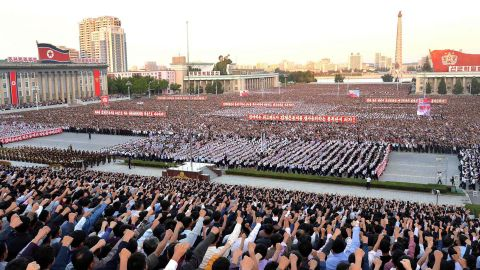 This picture taken on September 23, 2017 and released from North Korea's official Korean Central News Agency (KCNA) on September 24 shows an anti-US rally in Kim Il-Sung Square in Pyongyang. Tens of thousands of Pyongyang residents gathered in the capital's Kim Il-Sung Square on September 23 to laud leader Kim Jong-Un's denunciation of US President Donald Trump. (STR/AFP/Getty Images)