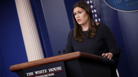 White House Press Secretary Sarah Huckabee Sanders answers questions during a briefing at the White House September 25, 2017 in Washington, DC.