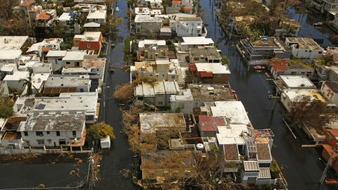 An aerial view shows the flooding in San Juan on September 25.