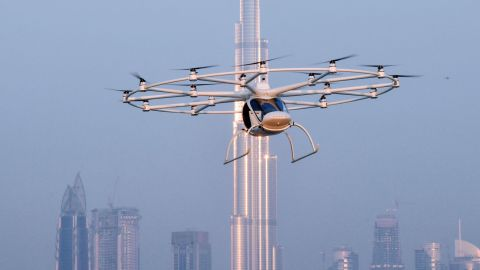 The 18-rotor Volocopter on a test flight in Dubai in September 2017. The autonomous vehicle has a cruising speed of 30mph and is being explored as a future taxi service for the city.<br />