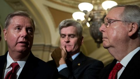 WASHINGTON, DC - SEPTEMBER 26: (L to R) Lindsey Graham (R-SC), Bill Cassidy (R-LA) and Majority Leader Mitch McConnell (R-KY) take questions from reporters during a news conference following their weekly policy luncheon, September 26, 2017 in Washington, DC. (Drew Angerer/Getty Images)