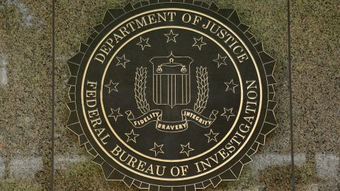 The FBI seal is seen outside the headquarters building in Washington, DC on July 5, 2016. (YURI GRIPAS/AFP/Getty Images)