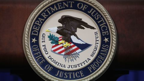 WASHINGTON, DC - JUNE 29: The Justice Department seal is seen on the lectern during a Hate Crimes Subcommittee summit on June 29, 2017 in Washington, DC. (Mark Wilson/Getty Images)