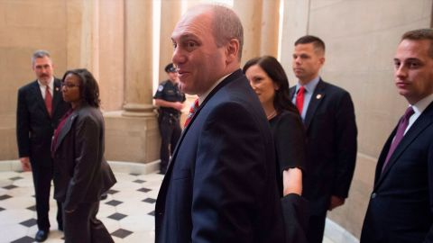 US Majority Whip Representative Steve Scalise, Republican of Louisiana, walks through Statuary Hall at the US Capitol in September 2017, as he returns to work after being injured in a shooting at the Republican Congressional baseball team practice earlier that year.