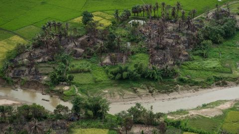 This aerial picture taken on September 27, 2017 shows burnt villages near Maungdaw in Myanmar's northern Rakhine state.