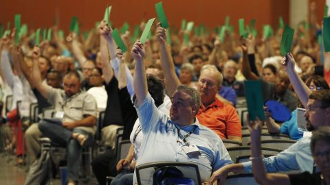 """Members attending the Southern Baptist Convention vote to formally condemn the political movement known as the """"alt-right,"""" in a national meeting, Wednesday, June 14, 2017, in Phoenix. Southern Baptists on Wednesday formally condemned the political movement known as the """"alt-right,"""" in the meeting that was thrown into turmoil after leaders initially refused to take up the issue. (AP Photo/Ross D. Franklin)"""