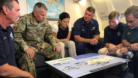 (L to R - TSA Administrator David Pekoske, Army Corps of Engineers commander Lt Gen Todd Semonite, Elaine Duke, Coast guard VADM Karl Schultz plus two more officials)