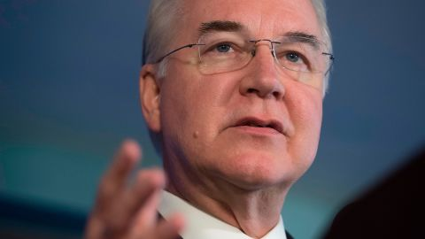 US Secretary of Health and Human Services Tom Price attends a press conference about influenza prevention for the upcoming flu season at the National Press Club in Washington, DC, September 28, 2017.