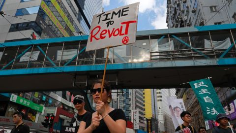 Hong Kong pro-democracy groups protested Sunday in the wake of the jailing of multiple Umbrella Movement activists.