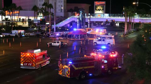 Police and emergency responders gather at the intersection of Las Vegas Boulevard and Tropicana Avenue.