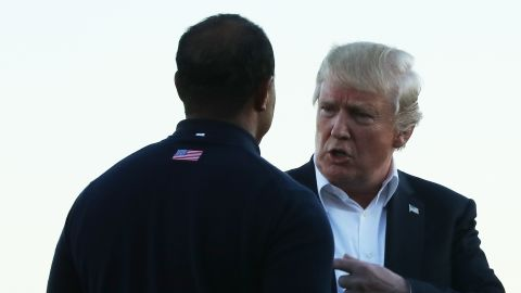 Tiger Woods was serving as one of Stricker's vice captains and Trump took time out to speak with the 14-time major winner.