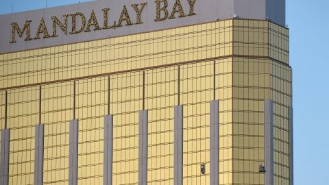 LAS VEGAS, NV - OCTOBER 02:  Broken windows are seen on the 32nd floor of the Mandalay Bay Resort and Casino after a lone gunman opened fired on the Route 91 Harvest country music festival on October 2, 2017 in Las Vegas, Nevada. The gunman, identified as Stephen Paddock, 64, of Mesquite, Nevada, opened fire from the Mandalay Bay Resort and Casino on the music festival, leaving at least 50 people dead and hundreds injured. Police have confirmed that one suspect has been shot. The investigation is ongoing.   (Photo by David Becker/Getty Images)
