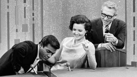 """White appears as a celebrity guest on the game show """"Password"""" in 1967. The actress was married to """"Password"""" host Allen Ludden, right, from 1963 until his death in 1981."""