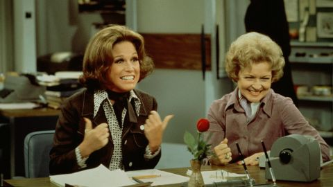 """At an age when most acting careers start winding down, White found even bigger success as Sue Ann Nivens, the man-hungry """"happy homemaker"""" on """"The Mary Tyler Moore Show"""" in the 1970s. She was the perfect foil for star Mary Tyler Moore, left, and she won two Emmys for best supporting actress in a comedy series."""