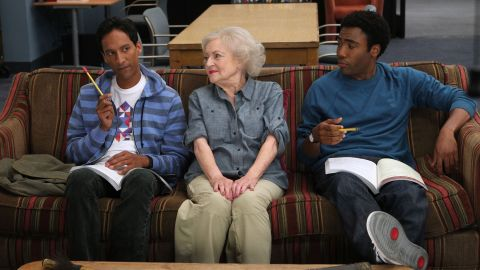 """White appears with Danny Pudi and Donald Glover while guest-starring as an eccentric professor on """"Anthropology 101"""" in 2010."""