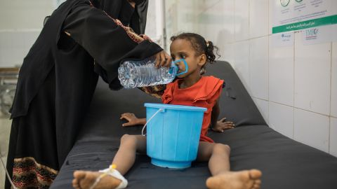 August 28, 2017 -- Fatima Yasen Ibrahim is treated for cholera at IRC-supported Al Sadaqa Hospital in Aden, Yemen. Yemen is currently experiencing the largest cholera outbreak in history. Due to the ongoing conflict in Yemen, health facilities and infrastructure have been broken down. Many people struggle to find access to clean water and sanitary bathroom facilities. The IRC is responding to the cholera outbreak in Yemen by providing clean water, running diarrhea treatment centers where cholera patients are treated, and educating local communities on how to prevent cholera.
