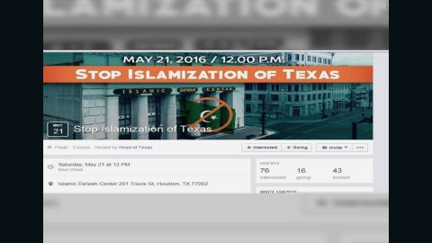"""A screenshot of the Event Page for """"Stop Islamization of Texas,"""" which was created by the Russian-linked group Heart of Texas."""