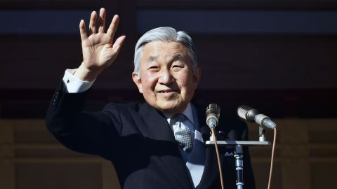 Akihito greets the public on his 81st birthday in December 2014. He ascended to the throne after his father's death in 1989.