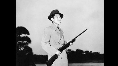 Akihito during a shooting trip circa 1955.