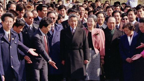 Akihito and Michiko visit the Great Wall of China in 1992. It was the first visit to China by a Japanese monarch. During his stay, Akihito said he deplored the Japanese treatment of the Chinese before and during World War II.