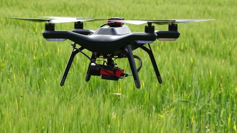 A drone equipped with a multispectral sensor was used for collecting data on crop growth.