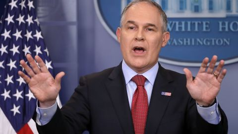Environmental Protection Agency Administrator Scott Pruitt answers reporters' questions during a briefing at the White House June 2, 2017 in Washington, DC.