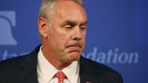 """Interior Secretary Ryan Zinke delivers a speech billed as """"A Vision for American Energy Dominance"""" at the Heritage Foundation on September 29, 2017 in Washington, DC."""