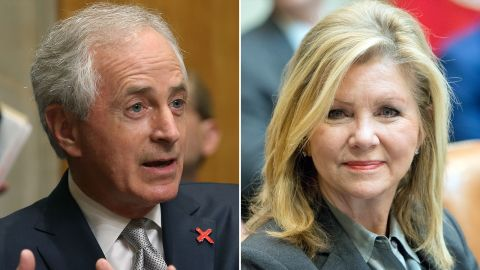 Sen. Bob Corker, left, is retiring at the end of his term. Rep. Marsha Blackburn, right, is running for his seat.