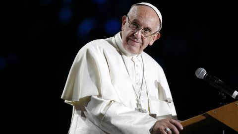 MALMO, SWEDEN - OCTOBER 31:  Pope Francis gives a speech during the 'Together in Hope' event at Malmo Arena on October 31, 2016 in Malmo, Sweden. The Pope is on 2 days visit attending Catholic-Lutheran Commemoration in Lund and Malmo.  (Photo by Michael Campanella/Getty Images)