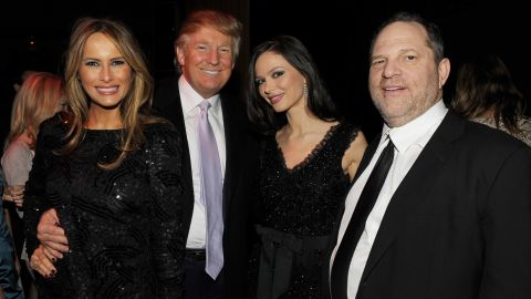 """NEW YORK - DECEMBER 15:  (L-R) Melania Trump, Donald Trump, Georgina Chapman and Harvey Weinstein attend the after party of the New York premiere of """"NINE"""" at the M2 Ultra Lounge on December 15, 2009 in New York City.  (Photo by Stephen Lovekin/Getty Images for The Weinstein Company)"""