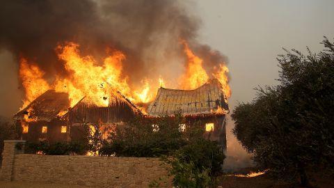 Fire consumes a barn in Glen Ellen on October 9.