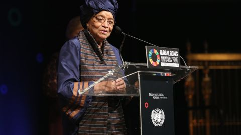 President of Liberia Ellen Johnson Sirleaf speaking on stage at The Goalkeepers Global Goals Awards hosted by UN Deputy Secretary-General Amina J. Mohammed and Melinda Gates. The event honored outstanding individuals who are accelerating progress towards the UNs Global Goals and was held at Gotham Hall on September 19, 2017 in New York City.