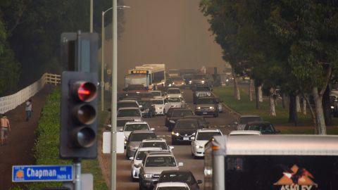 Traffic backs up as people flee Orange on October 9.