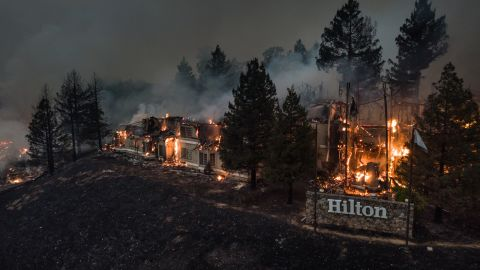 The Santa Rosa Hilton Hotel burns to the ground on October 9.
