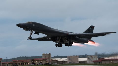 A U.S. Air Force B-1B Lancer assigned to the 37th Expeditionary Bomb Squadron, deployed from Ellsworth Air Force Base (AFB), S.D., take off from Andersen AFB, Guam to fly sequenced bilateral missions with two Japan Air Self-Defense Force (JASDF) F-15s and two Republic of Korea air force (ROKAF) F-15Ks in the vicinity of the Sea of Japan, Oct. 10, 2017. This mission marks the first time U.S. Pacific Command B-1B Lancers have conducted combined training with JASDF and ROKAF fighters at night, demonstrating our increasing combined capabilities. (U.S. Air Force photo by Senior Airman Jacob Skovo )