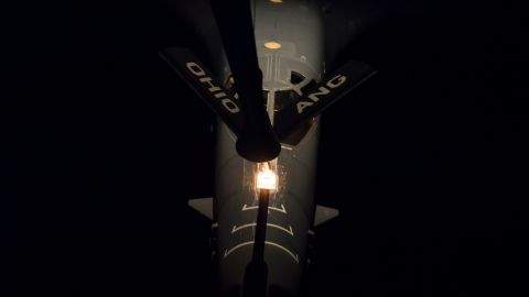 A US Air Force B-1B bomber is refueled midflight during a nighttime mission off the Korean Peninsula on October 10.