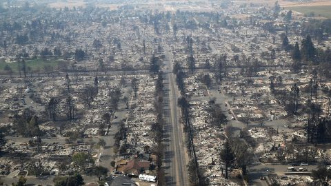Homes are destroyed in the Coffey Park neighborhood of Santa Rosa on October 11.
