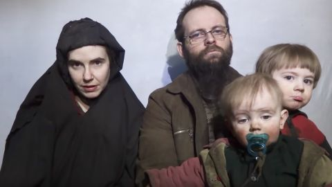 Screengrab from video published on Youtube by Taliban media on Dec 19, 2016, showing  American hostage Caitlan Coleman and her husband Canadian Joshua Boyle with their two children.
