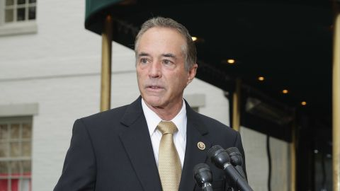 WASHINGTON, DC - APRIL 21:  Rep. Chris Collins (R-NY) talks to reporters following a meeting with fellow members of Congress and representatives from the Donald Trump presidential campaign at the National Republican Club of Capitol Hill April 21, 2016 in Washington, DC. (Chip Somodevilla/Getty Images)