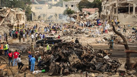 The initial explosion destroyed dozens of stalls and a popular hotel in the heart of the city. Minutes after the first blast, a second vehicle bomb went off nearby.
