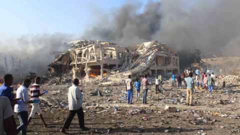 A large building collapsed into a pile of rubble near the site of the first explosion.