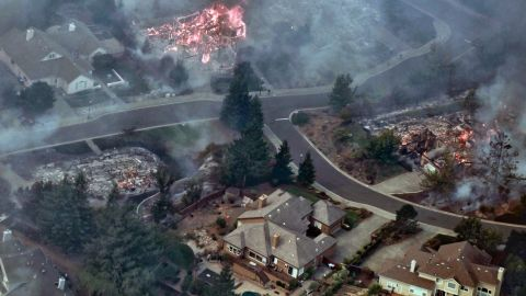 Aerial images showing parts of Sonoma and Napa County that have been hit by wildfires.