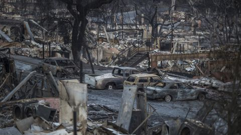 The burnt-out shells of houses destroyed by the Tubbs Fire line Fountaingrove Parkway on October 14, 2017, in Santa Rosa, California. The fire was the most destructive in the state's history.