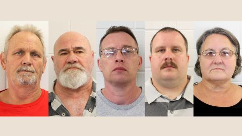 From left, Bill Moore Sr. and Frankie Gebhardt have been convicted in Coggins' death, while Gregory Huffman, Lamar Bunn and Sandra Bunn await trial.