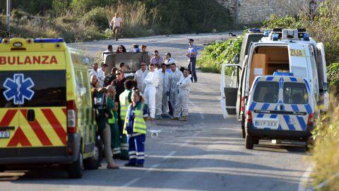 Ambulances on the scene of the explosion on Monday.
