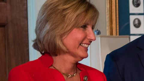Rep. Claudia Tenney, a New York Republican, looks on after President Donald Trump signed financial services executive orders and memorandums at the US Treasury Department in Washington on April 21, 2017.