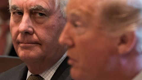 US President Donald Trump speaks alongside Secretary of State Rex Tillerson (L) during a Cabinet Meeting in the Cabinet Room of the White House in Washington, DC, October 16, 2017. / AFP PHOTO / SAUL LOEB        (Photo credit should read SAUL LOEB/AFP/Getty Images)