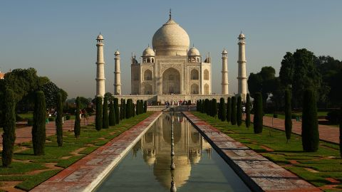 The Taj Mahal, as pictured on September 29, 2010 in Agra, India. The mausoleum was built by the Mughal emperor Shah Jahan in memory of his third wife, Mumtaz Mahal, who is buried there alongside Jahan.